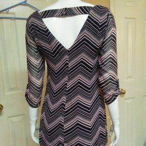 Lily Rose Chevron Dress Pink & Black